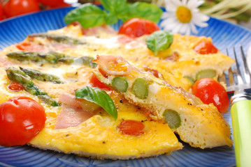 frittata with green asparagus,ham and cherry tomato