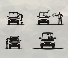 Vehicle icons. Vector format