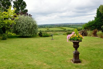 Garden with pot and  view over Vineyard
