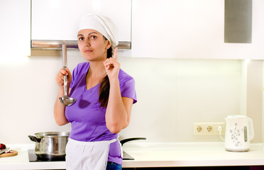 Woman chef having a brainwave