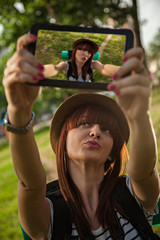 Tourist Girl Taking Selfie