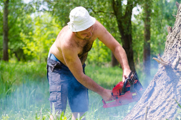Shirtless man cutting down a tree trunk