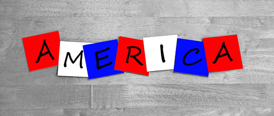 America, word sign series in national flag colors for countries.