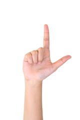 Woman right hand showing the two fingers isolated.