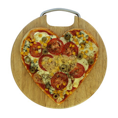 Valentine vegetarian pizza - pizza in the shape of heart