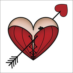 Corset heart with arrow, vector