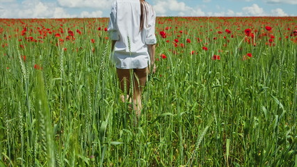 CRANE MOTION: Young girl in a man's shirt is poppy field