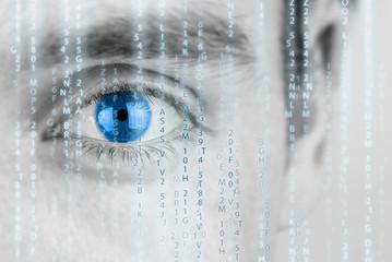 Futuristic image with matrix texture