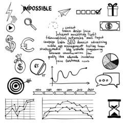 Hand draw social media sign and symbol doodles elements. Concept