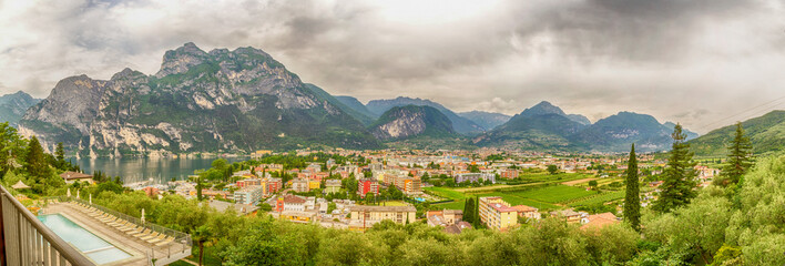 Panorama over Riva del Garda, Northern Lake Garda, Italy
