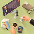 Workplace, vector background flat design