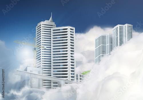 City in the clouds, vector background