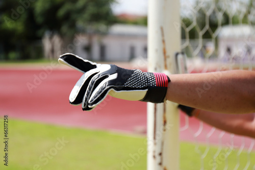 Poster Hand of Goalkeeper gives directions