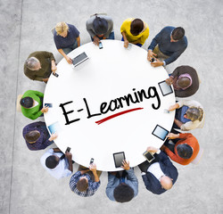 People Social Networking and E-Learning Concept
