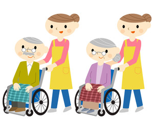 車椅子に乗るシニア