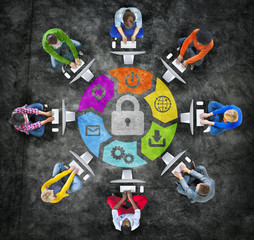 People in a Circle Using Computer with Security Concept