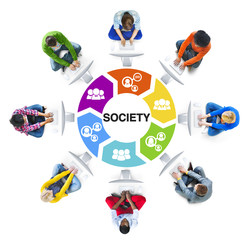 Diverse People Using Computer witth Society Concept
