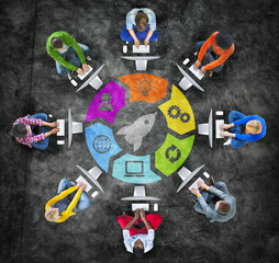 Group of People in Circle with Technology Concept