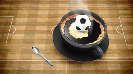 coffee cup with soccer
