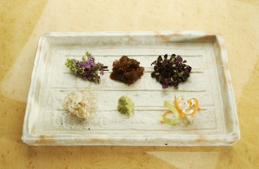 Plate of assorted condiments