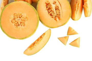 cut melon on white background close-up