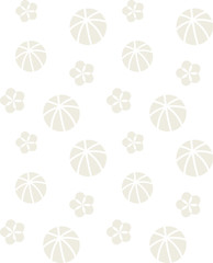 Seamless pattern of flowers & balls