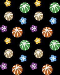 Colorful seamless pattern of flower & balls