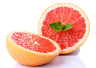 Grapefruit with half isolated on white