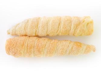 French croissants wither sugar on white background