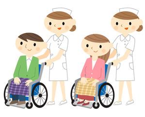 車椅子に乗る男女