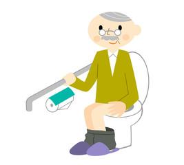 手摺に掴まってトイレするおじいちゃん