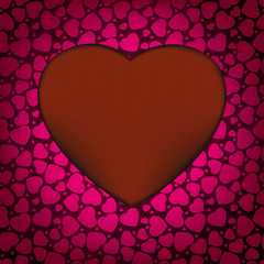 Red Valentine's day background with hearts. EPS 8