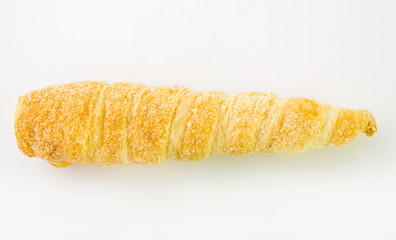 French croissants isolated wither sugar on white background