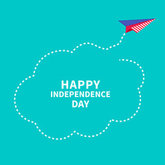 Happy independence day. 4th of July. Paper plane. Dash cloud.