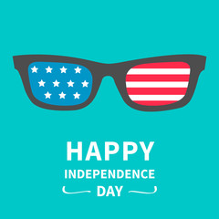 Glasses with flag. Happy independence day. 4th of July.