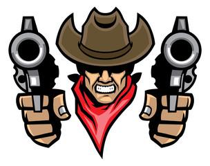 bowboy mascot aiming the guns