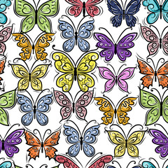 Butterflies ornate, seamless pattern for your design