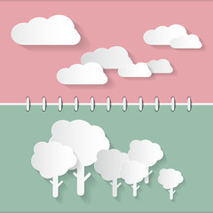Retro Paper Clouds and Trees on Notebook Background