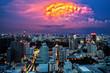Bangkok Cityscape at dusk, Twilight with Thunderbolt - 66322825