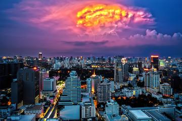 Bangkok Cityscape at dusk, Twilight with Thunderbolt
