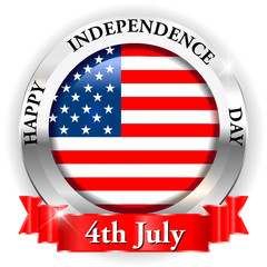 4th july happy independence day on USA badge with ribbon
