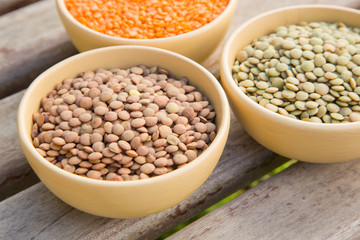Dried lentils in the clay dishes
