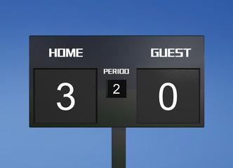 soccer scoreboard score 3 & 0