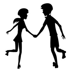 Happy roller-skating couple (silhouette)