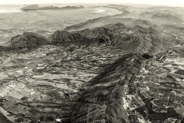Aerial view of the Mountainous Terrain