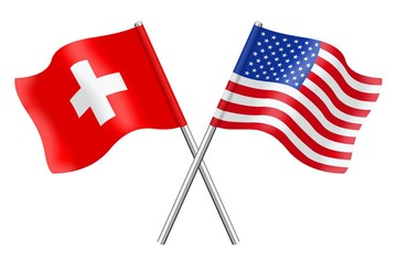 Flags : Switzerland and USA