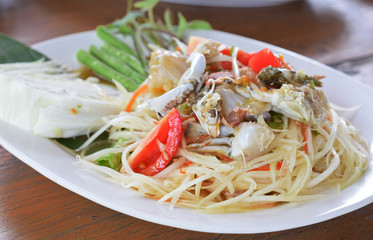 spicy papaya salad with blue crab