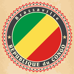 Vintage label cards of Republic of the Congo flag