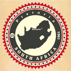 Vintage label-sticker cards of South Africa