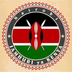 Vintage label cards of  Kenya flag.
